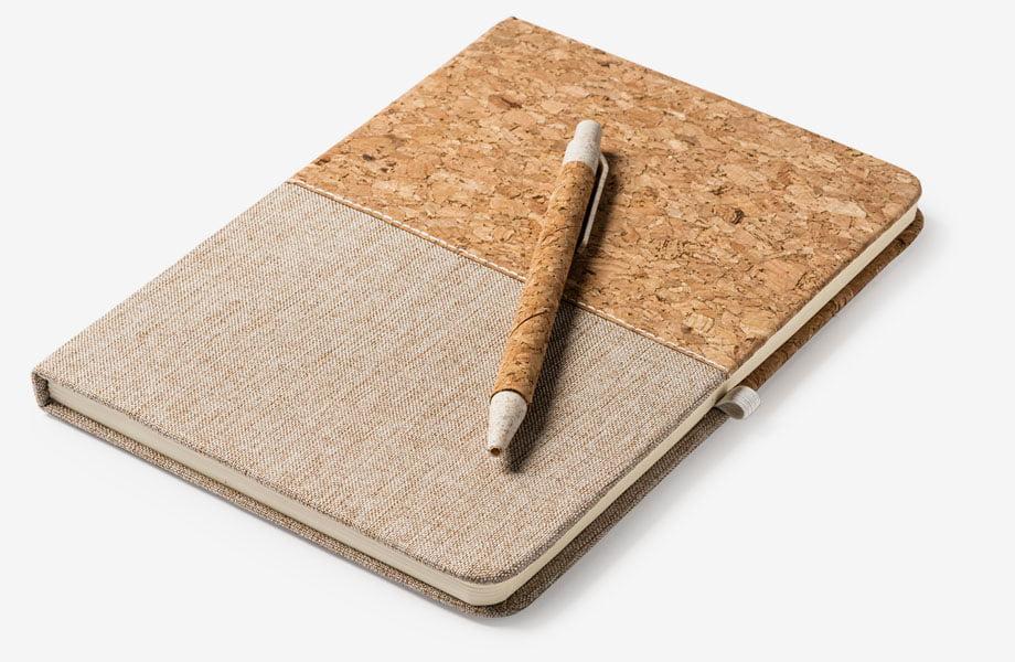Bloc de notas A5 con tapas rígidas de corcho y algodón